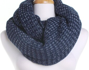 Navy Wool Scarf / Soft Blue Knitted Infinity Scarf / Christmas Present / Gift for Her / Women Scarves / Circle Cowl Scarf / Mothers Day