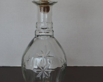 Vintage Glass Decanter with Cork Stopper