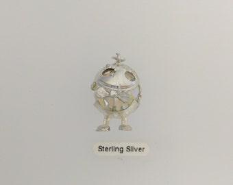 Humpty Dumpty Silver & Crystal Charm