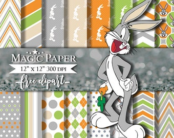 50% OFF SALE Bugs Bunny Digital Paper Clipart Scrapbook Instant Download
