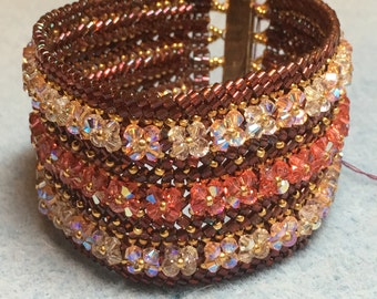Swarovski Crystals Beaded Cuff Bracelet