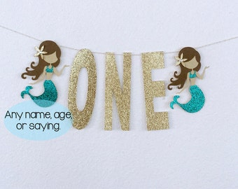 One Mermaid Banner, Mermaid Age Banner, Mermaid Banner, Age Banner, Gold Glitter Banner, Custom Banner, Under the sea banner, Mermaid