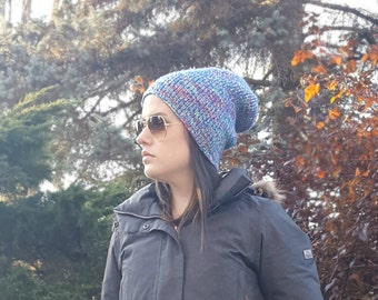 Knit Beanie, Slouchy Knit Hat, Slouchy Beanie, Slouch Hat, Snowboard Hat, Boyfriend Hat, Blue Hat, Tight Knit Hat, Gift for Her