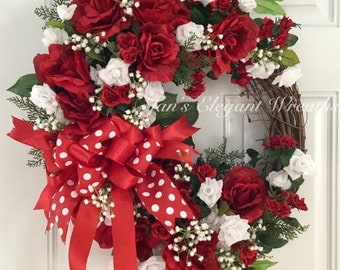 Rose Wreath, Red Rose Wreath, Front Door Wreath, Red and White Roses, Spring Wreath, Summer Wreath, Elegant Rose Wreath