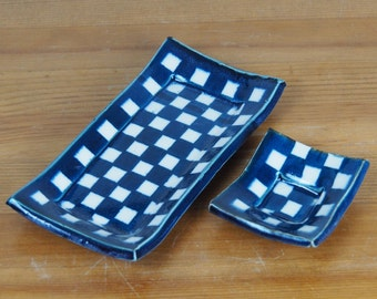 Small Plate / Tray / Sushi Set - Ceramic, Handmade, White, Blue