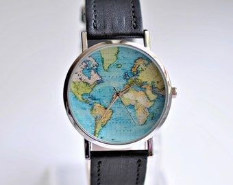 Gift for her map watch travel gift gift for women world gift for women graduation gift world map watch wanderlust watch women watches gumiabroncs Image collections