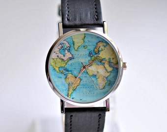 Gift for women. Graduation Gift. World Map watch. Wanderlust watch. Women watches. Travel her. Gift for her. Travel jewelry. Globe watch