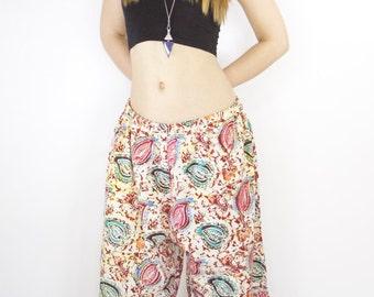 TRENDYBEGGARz Harem Pants in Leaf pattern with wide leg. Free Spirit Clothing. Bohemian/Hippie style. Handmade.