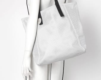 Leather perforated large white shoulder tote bag