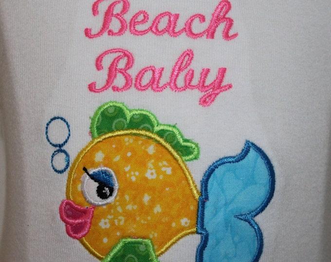 Baby beach bodysuit,Beach baby girl, Baby tank top, Baby shower gift,Fish shirt,Baby beach clothes,Summer baby bodysuit,Girl beach t shirt