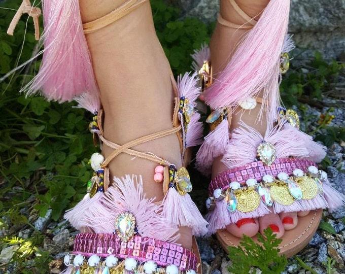 "Greek handmade sandals ""Penelope "" boho,tie up gladiator sandals,ethnic,pink,women's shoes,big tassels sandals,fringes sandals,lace up shoes"