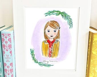 Lucy Pevensie Print- 5x7 - Chronicles of Narnia Print -  Nursery Wall Art - HLP