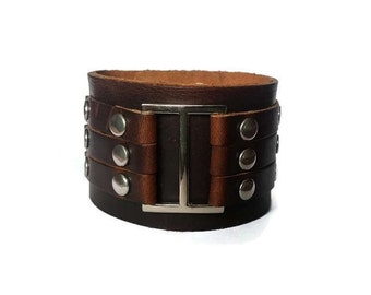Large Brown Buckle Leather Cuff Bracelet, Mens Gift, Oversized Mens Cuff, Birthday Gift for Him, Genuine Leather, Large Buckle Bracelet