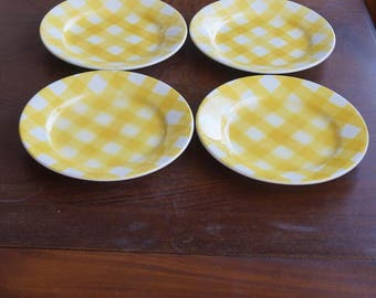 Four rare vintage, yellow checkered plates, Sarreguemines France, air brushed (Spritzdekor ), 1930 - 1940s squared pattern, breakfast plates