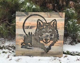 Rustic Wolf Silhouette Wood nWall Art