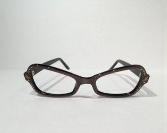 Vintage Frame France 1960s Mink Cat Eye Glasses Frames, New Old Stock, Brown Pearlescent Cateye Frames Rhinestones Atomic Gold Sunglasses