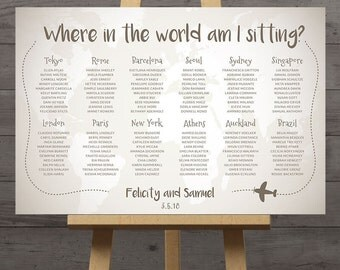 World map wedding seating chart, travel theme city destination table assignment wedding decoration flags table names large plan diy DIGITAL