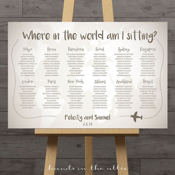 Table Names Wedding: World Map Wedding Seating Chart, Travel Theme City