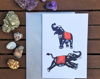 Purple, Orange and Red Indian Patterned Elephants, hand painted A6 greeting card: Birthday, thank you, note card. Purple Watermelon.
