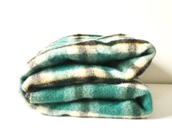 Vintage Green Plaid Wool Blanket / Tartan Plaid Wool Throw / Camp Blanket Pure Wool / Green Black Yellow Lap Stadium Blanket Picnic Blanket