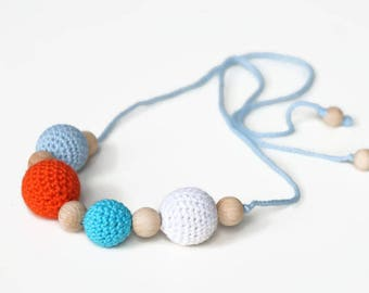 Girls necklace, crochet necklace, kids accessory, breastfeeding / nursing necklace, teething necklace, crochet accessory, kids jewelry