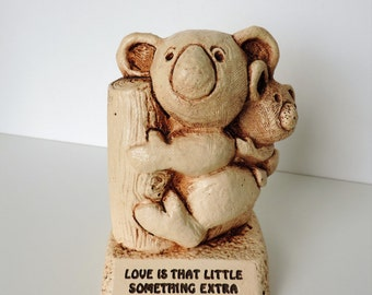 "Vintage Koala Bear and Baby Resin Sculpture, 1980's, Paula, Made in USA, ""Love Is That Little Something Extra"""