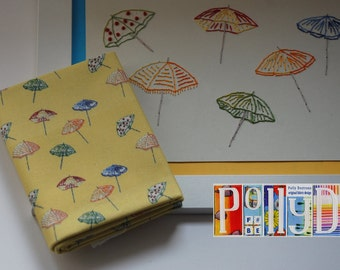 Unique 100% cotton yellow fabric modern 'parasol' motif digitally printed pattern fat quarter original embroidery design