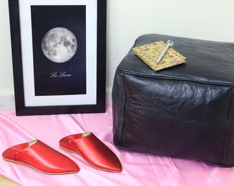 Black Leather Moroccan Pouf, Ottoman, Handmade Leather Pouf