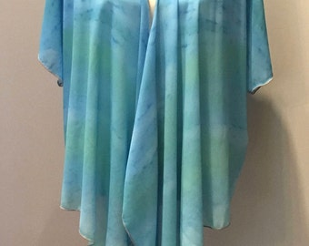 Boho Style Clothes | Wearable Art | Draped Chiffon Cardigan | Tops | Jackets | Travel Wear | Blue Water Colours | For Her | Turquoise