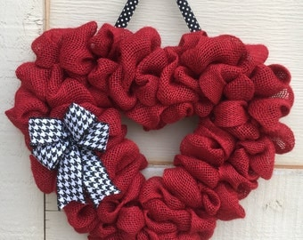 Valentine wreath,Heart wreath,Burlap heart wreath,Red heart wreath,Valentine heart wreath,