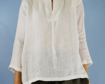 READY The Tunic- Women's Lightweight Linen White Blouse, size Medium