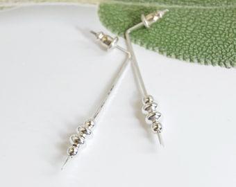 Post Sterling Silver Earrings, Sterling Silver Stud Earrings, Geometric Earrings, Modern Post Earrings, Stud Earrings, Bar Earrings, USA