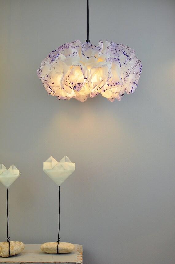 Papier blanc et violet lampe plafonnier suspendu lampe for Lampe papier castorama