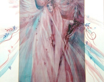 The Angel, Silva - Spirit Inspired Watercolor Print with Unique Hand Painted Mat