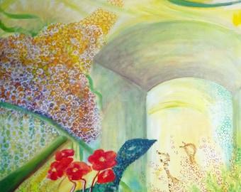 """Paint"" the fantasy Garden "", acrylic on canvas"