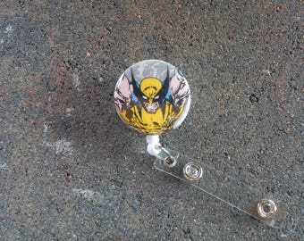 Wolverine inspired badge holder - marvel comics retractable ID reel - men's ID clip - superhero inspired badge reel - Pediatric badge pull