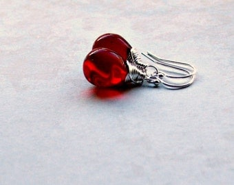Sterling Silver Red Teardrop Earrings