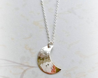 Sterling Silver Moon Necklace Handmade Hammered Moon Pendant Gifts for Her