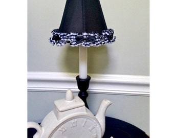 Black Chandelier Lamp Shade in Silk With Checker Trim and Bow Accents Black/White
