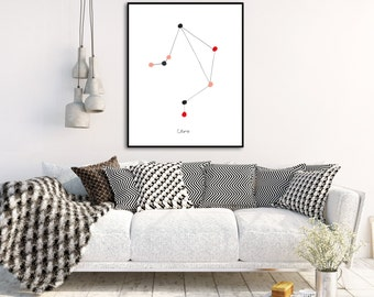 Libra Art Constellation Art Zodiac Sign Art Zodiac Poster Libra Zodiac Libra Constellation Wall Art Zodiac Art Print Minimalist Artwork
