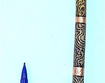 Magic Wand, Air Elemental Wand! Snapped Off and Infused with Air Energy by an F1 Tornado! Pyrite as base. Pyrography and Copper-Leafed!
