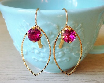 Pink and Gold Hoops, Swarovski Crystal, spring earring, Mother's Day gift, Pink earrings, Fuschia earring, everyday earrings, gifts for her