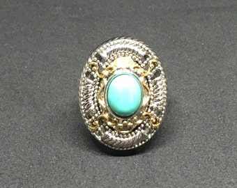 10mmx7mm Large Genuine Turquoise Two-Tone Ring