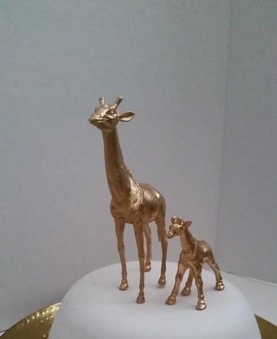 giraffe baby safari cake topper set gold jungle animal baby