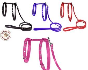 Leather Dog Harness Leash Set Adjustable Small Medium Black Red Brown Mustard