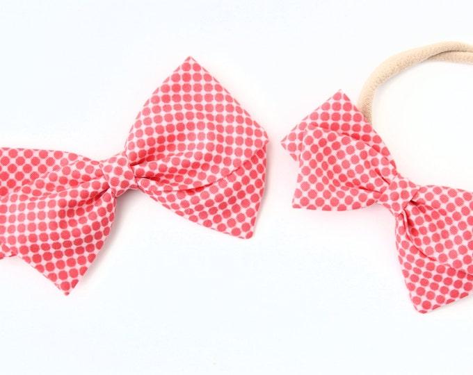 Polka Dot Hair Clip - Salmon Pink Polka Dot Bow - Baby Bow Headband
