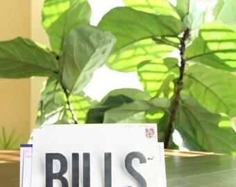 Bills Mail Holder  |  rustic mail organizer metal home office decor