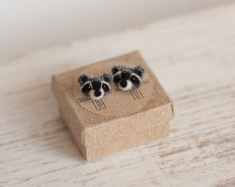 Raccoon Stud Earrings Valentine's Gift for her Tiny animal earrings Studs Small stud earrings for girlfriend Sterling silver Mother Love
