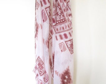 Pink shade bohemian tribal patterned scarf