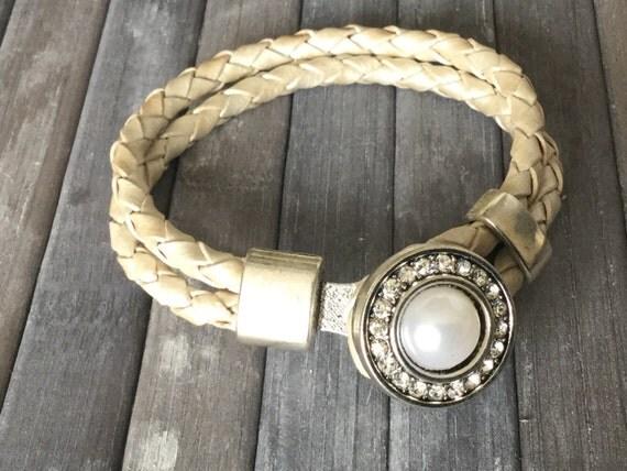 Bracelet braided White leather, gift, strap button White Pearl Bracelet, bracelet of woman, daughter bracelet
